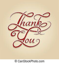 Thank You lettering retro calligraphy. Handwrite english ...