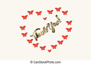 Thank you love heart butterflies card vector design