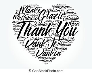 Thank You Love Heart Word Cloud in different languages,...