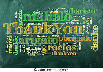 thank you, merci - thank you in different languages on green...
