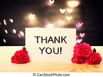 Thank You message card with carnation flowers
