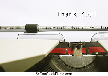 thank you message on typewriter paper, for appreciation concepts.