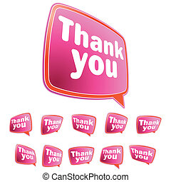 Thank you message stickers set.  + EPS8