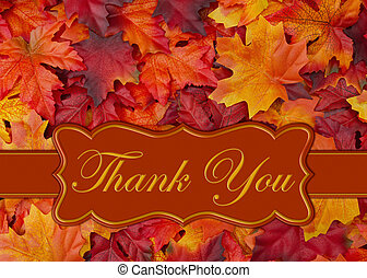 Thank you message with fall leaves