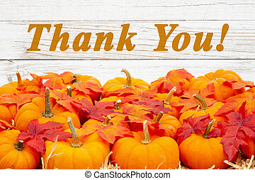 Thank you message with orange pumpkins with fall leaves