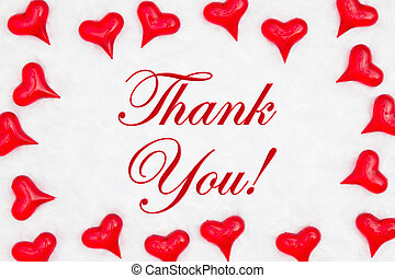 Thank you message with red hearts