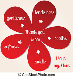 Thank you Mom - red flowers with  happy mother's