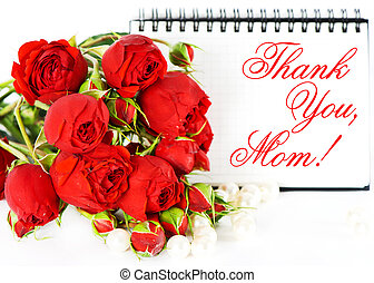 thank you, mom! Mother's Day card concept with red roses