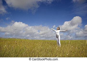 Thank You Nature - Beautiful woman having fun in the nature