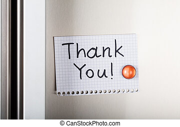 Thank You Note Attached With Orange Magnetic Thumbtack