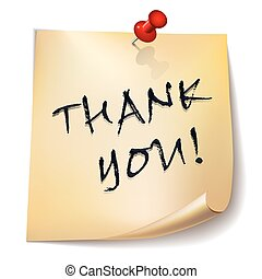 """Thank you!"" note paper with red pin on white background. Card or background."