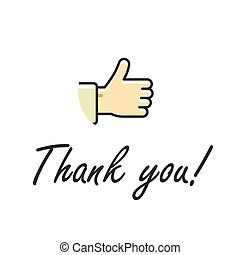 Thank you note text vector illustration isolated, thumb up hand