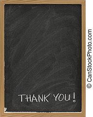 thank you on blank blackboard