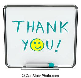 Thank You on Dry Erase Board - Thank you written on a white...