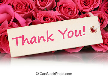 Thank You on greeting card with roses flowers on mother's or Val
