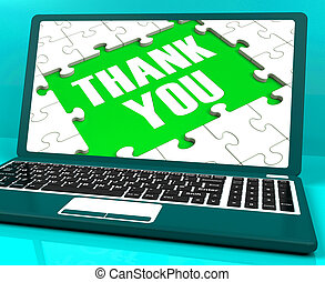 Thank You On Laptop Shows Appreciation