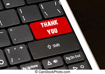 thank you on Red Enter Button on black keyboard