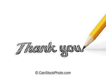thank you on white