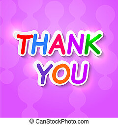 Thank you plaque on a purple background with reflections. ...