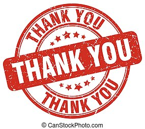 thank you red grunge round vintage rubber stamp