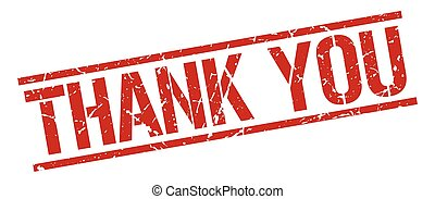 thank you red grunge square vintage rubber stamp