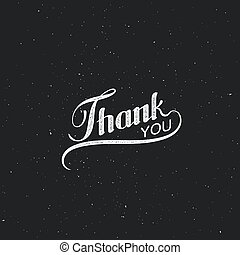 Thank You retro label - Vector typographic illustration of...