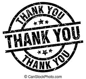 thank you round grunge black stamp