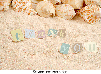 thank you sentiments from a tropical sandy beach with shells