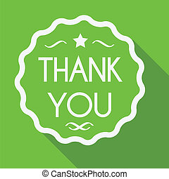 Thank you sign flat style with long shadow