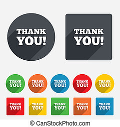 Thank you sign icon. Gratitude symbol. Circles and rounded...