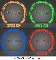 Thank you sign icon. Gratitude symbol. Fashionable modern style. In the orange, green, blue, red design. Vector