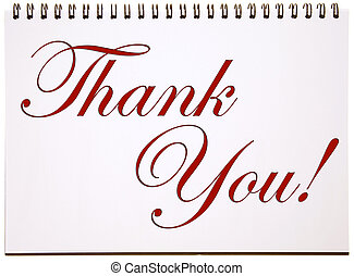 Thank You Sign on Notepad
