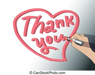 Thank you sign woman hand draw heart.