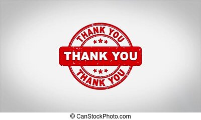Thank You Signed Stamping Text Wooden Stamp Animation. Red Ink on Clean White Paper Surface Background with Green matte Background Included.