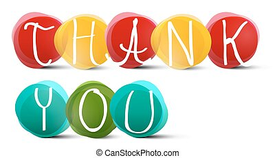 Thank You Slogan - Title in Colorful Circles on White Background