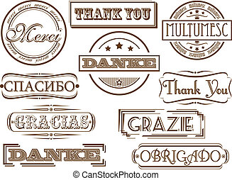 Thank you stamps - Thank you in different languages. Vector...
