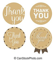 Thank You Sticker. Cardboard, White Print.