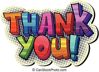 thank you sticker - funky colorful pop art style sign with...