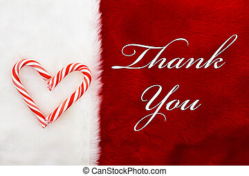 Thank You, A plush red stocking with a Candy Canes Heart and...