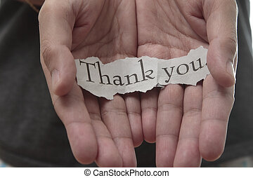thank you - thank you on hand , isolated on white background...