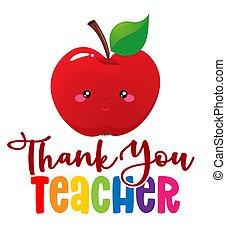 Thank you teacher - colorful calligraphy design.