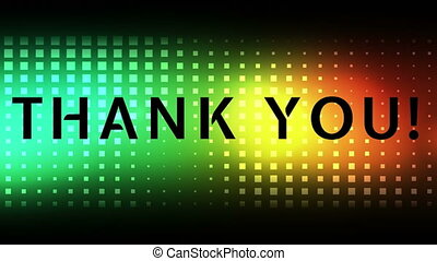 Thank you text and colorful background