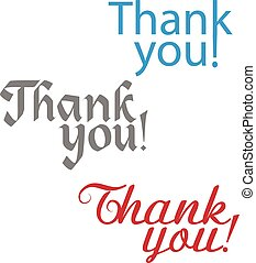 Thank you text collection on white background