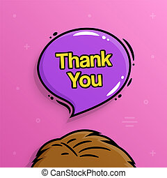 Thank you text inside speech bubble with human head. Vector.