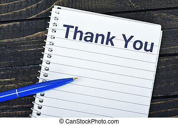 Thank You text on notepad