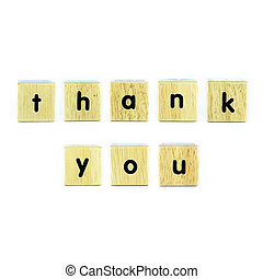 thank you text on wood