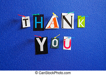 Thank you text pinned on board
