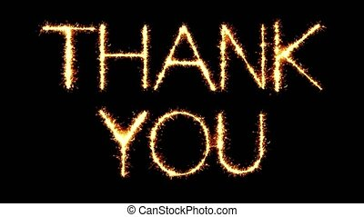 Thank You Text Sparkler Writing With Glitter Sparks Particles Firework on Black 4K Loop Background. Greeting card, Invitation, Celebration, Party, Gift, Message, Wishes, Festival.