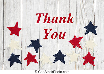 Thank you text with patriotic red, white and blue stars
