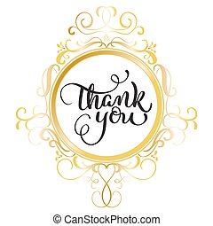 Thank you text with round gold frame on background. Calligraphy lettering Vector illustration EPS10